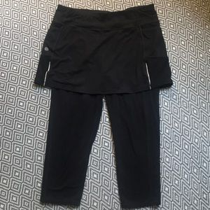 Athleta Pants - Athleta Be Free 2 In 1 Skirt Capri Leggings Large